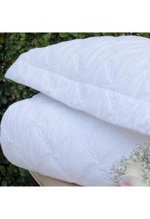 Colcha Com Porta Travesseiro Trapuntada Topazio Branca - Scavone