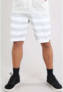 Bermuda De Sarja Masculina Reta Listrada Off White