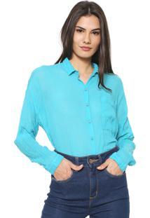 Camisa Cantão Voil Azul