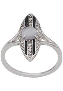 V Jewellery Stripe Ring - Prateado