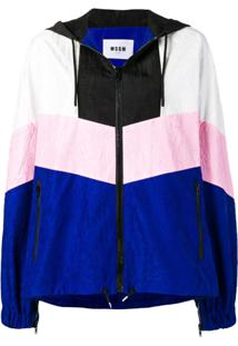 Msgm Jaqueta Oversized Color Block De Seda - Azul