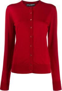 Dolce & Gabbana Cardigan Com Decote Careca Canelado - Vermelho