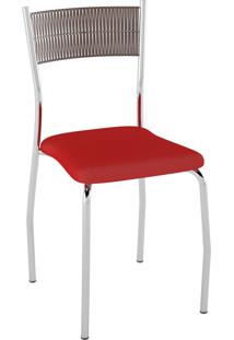 Kit C/ 2 Cadeiras Encosto Tabaco Assento Vermelho Pozza