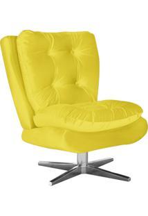 Poltrona Decorativa Tolucci Suede Amarelo Com Base Giratória Em Aço Cromado - D'Rossi