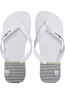 Chinelo Polo Wear Listrado Branco