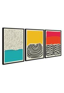 Quadro 40X90Cm Abstrato Colorido Artelana Moldura Preta Com Vidro Decorativo Oppen House