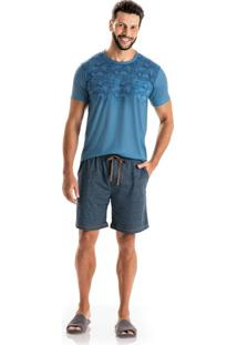 Pijama Eduardo Slim Curto C/ Bolso Azul/G