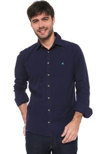Camisa Malwee Slim Básica Azul-Marinho