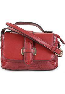 Bolsa Chenson Shopper Croco Clássico De Mão Feminina - Feminino-Vermelho