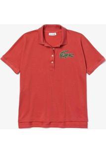 Camisa Polo Lacoste Regular Fit Feminina - Feminino-Rosa