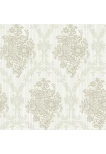 Papel De Parede Floral- Bege Claro & Verde Claro- 10Shark Metais