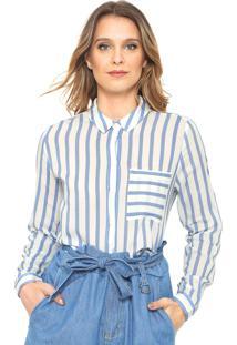 Camisa Only Listrada Azul/Branca