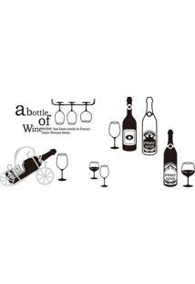Adesivo De Parede Wine- Preto- 60X90Cm- Evoluxevolux