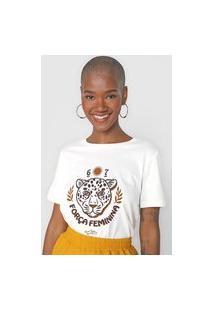 Camiseta Cantão Força Feminina Off-White