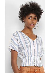 Blusa Lily Fashion Listrada Botões Feminina - Feminino-Rosa