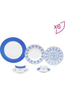 Aparelho De Jantar Hig White- Branco & Azul- 42Pã§S