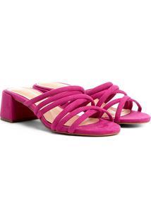 Sandália Shoestock Salto Grosso Tirinhas Color Feminina - Feminino-Pink
