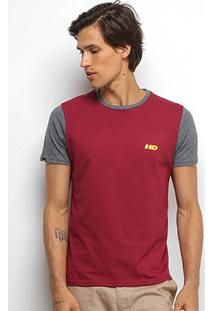 Camiseta Hd Basic Fit Masculina - Masculino-Bordô