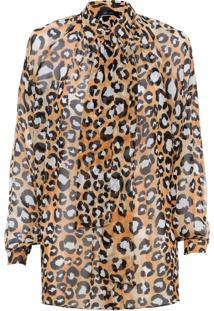 Camisa Feminina Gola Faixa - Animal Print