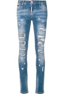 204978d4a Farfetch. Philipp Plein Calça Jeans Skinny Com Aplicação - Azul