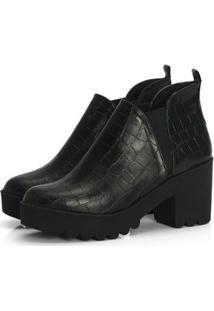 Ankle Boot Not-Me Croco Salto Tratorado Versátil Confort - Feminino