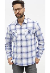 Camisa Slim Fit Xadrez Com Bolsos - Azul & Brancaaramis