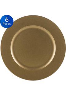 Jogo De 6 Sousplat Liso Gold 33 Cm - Bon Gourmet - Dourado