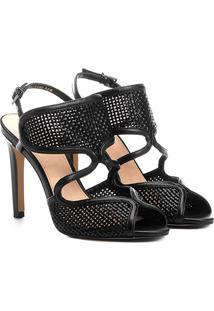 Sandália Shoestock Tressê Salto Fino Feminina - Feminino-Preto