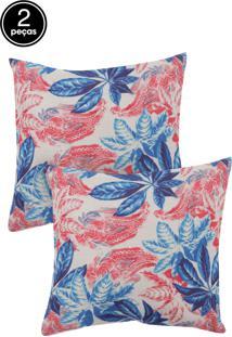 Kit 2 Capas De Almofadas Próxima 43X43 Linho Estampado Flores Vermelho E Azul