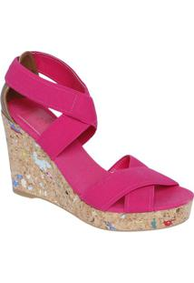 Sandália Plataforma Com Tiras Elásticas - Pink & Bege