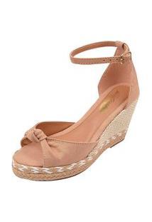 Sandália Uzze Sapatos Anabela Confort Laço Nude