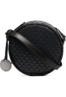 Emporio Armani Round Logo-Print Shoulder Bag - Preto