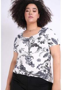 Blusa Kaue Plus Size Decote Princesa Feminina - Feminino-Preto