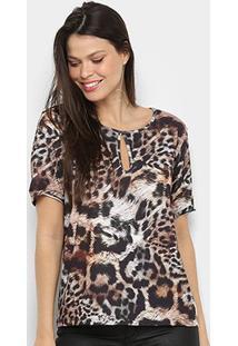 Camiseta Lança Perfume Estampada Recorte Feminina - Feminino-Marrom+Preto