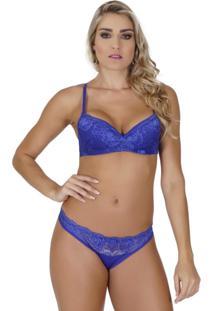 ... Conjunto Click Chique Sexy Luxo Em Microfibra E Renda Azul edbbf2fe874