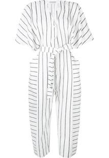 Palmer / Harding Striped Loose Jumpsuit - Branco