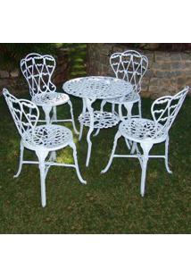 Conjunto De Mesa Viena 4 Cadeiras Alumínio Fundido Branco - Decora Na Net