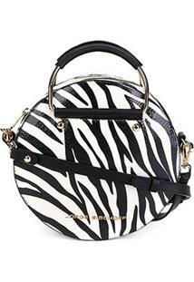Bolsa Couro Jorge Bischoff Redonda Zebra Feminina - Feminino-Branco+Preto