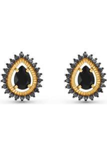 Brinco Ouro Amarelo Quartzos Negros E Diamantes Negros