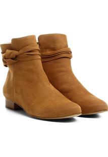 92df3f387 Bota Couro Cano Curto Shoestock Laço Lateral Feminino - Feminino-Caramelo