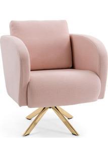 Poltrona Decorativa Sala De Estar Dama Base Giratória Dourado Algodão Rosa - Gran Belo
