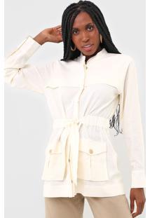 Jaqueta Parka Linho Dress To Acinturado Off-White