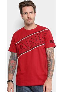 Camiseta Gangster Listras Logo Masculina - Masculino-Vermelho