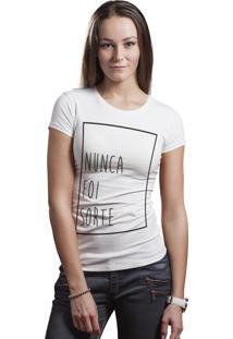 Camiseta Hunter Nunca Foi Sorte Branca
