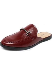 Mule Damannu Shoes Vicky Verniz Feminino - Feminino-Bordô