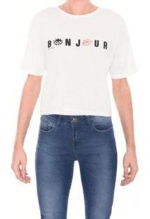 Camiseta M.Officer Ampla Feminina - Feminino-Branco