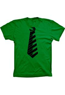 Camiseta Lu Geek Manga Curta Gravata Social Verde
