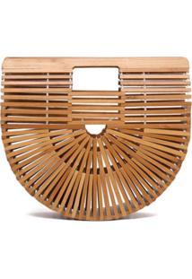 Bolsa De Madeira Bambu Artestore Design Vazado Varetas Modelo Cult Gaia Caramelo