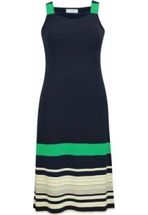 Vestido Pau A Pique Longuete Listrado Verde