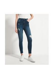 Calça Skinny Jeans Lisa Com Puídos   Blue Steel   Azul   34